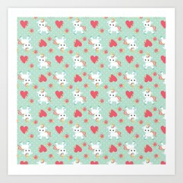 Baby Unicorn with Hearts Art Print
