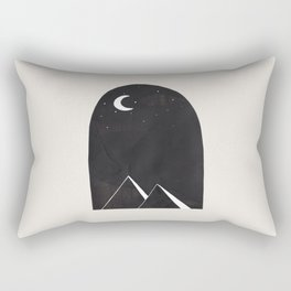 Minimalist Abstract Ink Collage Ancient Egypt Pyramids Night Desert Landscape by Ejaaz Haniff Rectangular Pillow