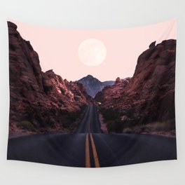 Road Red Moonrise Wall Tapestry