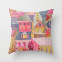 home sweet home Throw Pillows featuring home by Jill Howarth