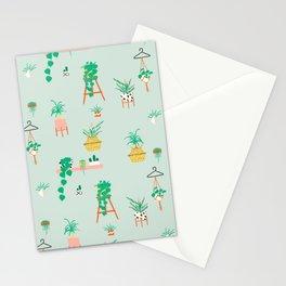 Plant Lady Scandinavian Apartment Pattern - Mint Stationery Cards