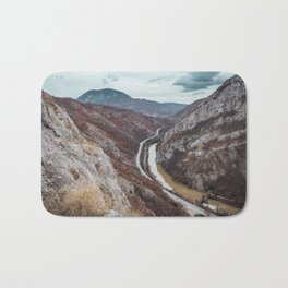 Beautiful photo of the canyon in Serbia, with river and the highway in the middle Bath Mat