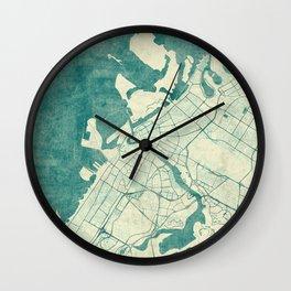 Dubai Map Blue Vintage Wall Clock