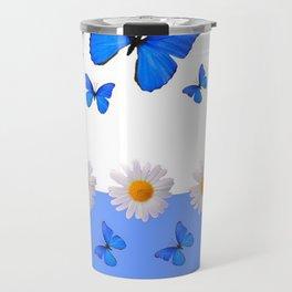 BABY BLUE MODERN ART BLUE BUTTERFLIES & WHITE DAISIES Travel Mug