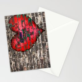heart on the old broken brick wall Stationery Cards