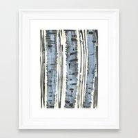 birch Framed Art Prints featuring Birch by Sand Salt Moon