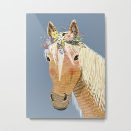 Horse with flower crown Metal Print