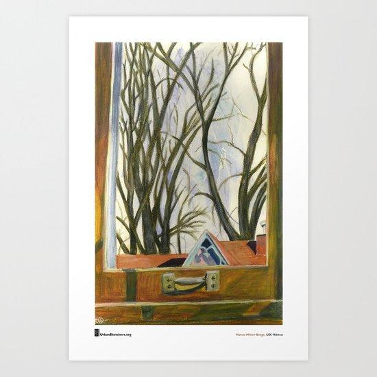 "Marcia Milner-Brage, ""Window Silver Maples Winter"" Art Print"