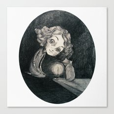 girl, cat and candle Canvas Print