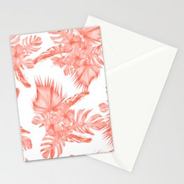 Tropical Palm Leaves Hibiscus Flowers Deep Coral Stationery Cards