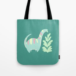 Cute Dino Eats Leaves Tote Bag