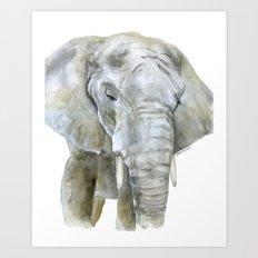 Elephant Watercolor Painting - African Animal Art Print