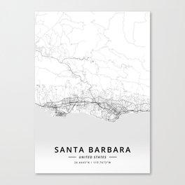 Santa Barbara, United States - Light Map Canvas Print