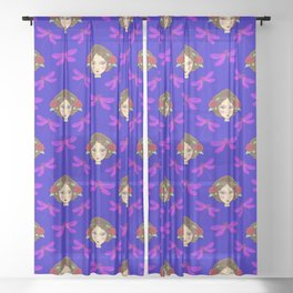 Pretty purple dragonflies, beautiful face of a young girl doll. Gift ideas for dragonfly lovers. Sheer Curtain