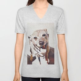 Watercolor painting of dog.   Animal artwork fine art painting dog watercolor print Unisex V-Neck