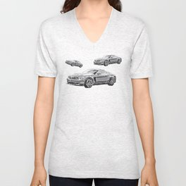 Mustang Digital Painting - Greyscale Unisex V-Neck