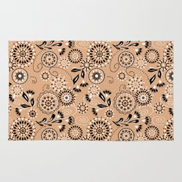 Beige abstract floral pattern Rug