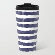 Blue- White- Stripe - Stripes - Marine - Maritime - Navy - Sea - Beach - Summer - Sailor 1 Metal Travel Mug