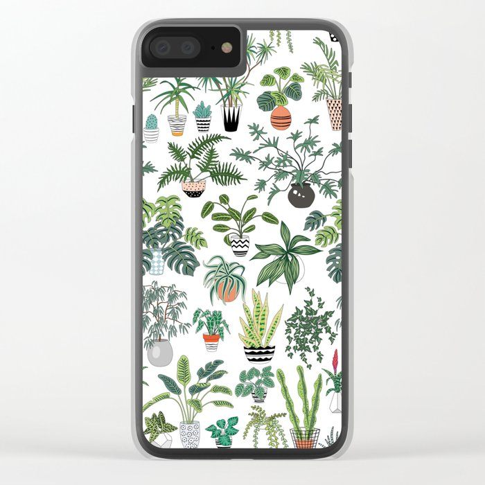plants and pots pattern Clear iPhone Case
