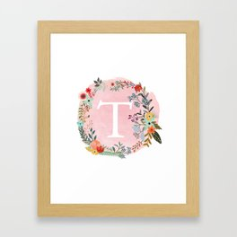 Flower Wreath with Personalized Monogram Initial Letter T on Pink Watercolor Paper Texture Artwork Framed Art Print