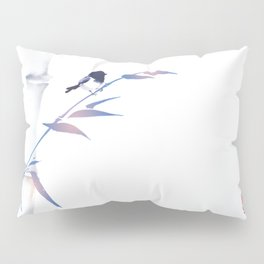 Blue bamboo tree and little bird hand drawn with ink in minimalist style on white background. Pillow Sham