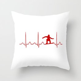 SNOWBOARDER'S HEARTBEAT Throw Pillow