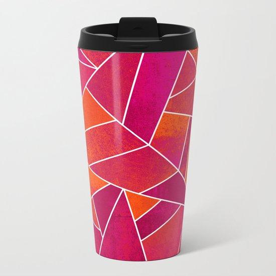 Hot Pink & Orange stone Metal Travel Mug