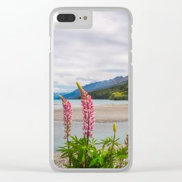 Lupin flowers in alpine scenery at Kinloch, NZ. Clear iPhone Case