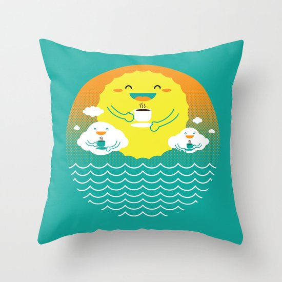 an afternoon coffee break Throw Pillow