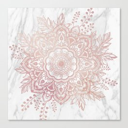 Queen Starring of Mandala-White Marble Canvas Print