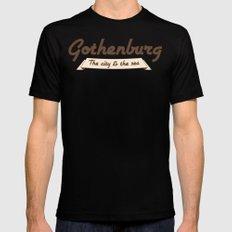 Gothenburg - The city & the sea MEDIUM Mens Fitted Tee Black