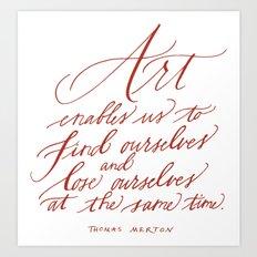 Thomas Merton (Calligraphy) Art Print