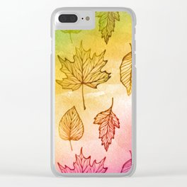 Colorful Autumn Leaf Watercolor Clear iPhone Case