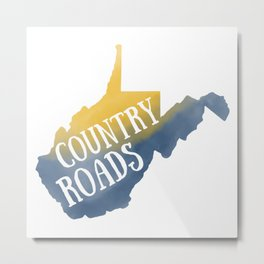Country Roads West Virginia Watercolor State Map WV Metal Print