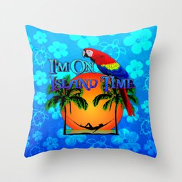 Island Time And Parrot Throw Pillow