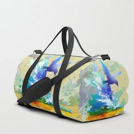 Birds flying. Sea, ocean waves. Gulls, colorful watercolor realistic panting. Blue water.. Duffle Bag