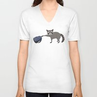 backpack V-neck T-shirts featuring Raccoon stole my homework by hyperactive