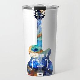 Vintage Guitar - Colorful Abstract Musical Instrument Travel Mug