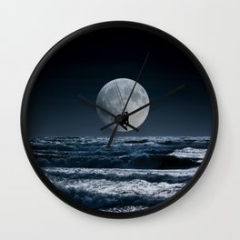 Kitesurfer in the moonin  blue night sky horizon Wall Clock