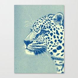 Leopard Turquoise feline glance Canvas Print