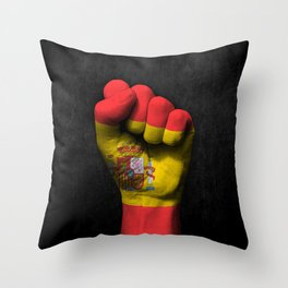 Spanish Flag on a Raised Clenched Fist Throw Pillow