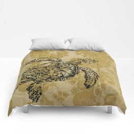 Yellow Turtle Comforters
