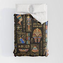 Egyptian hieroglyphs and deities on black Duvet Cover