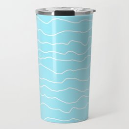 Turquoise with White Squiggly Lines Travel Mug