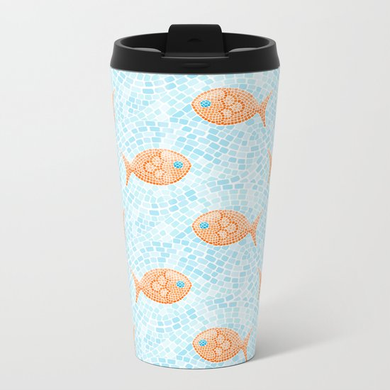 Fish Mosaic Metal Travel Mug