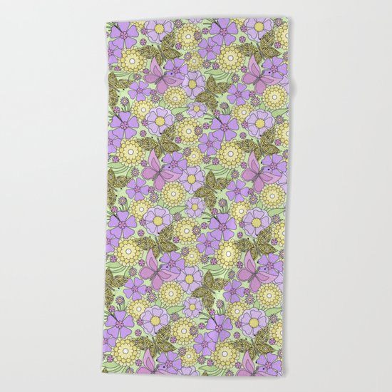 Bright floral pattern with butterflies. Beach Towel