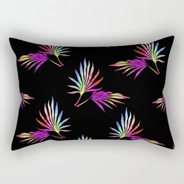 'Hawaiian Heatwave' Tropical Leaves Black Purple Red Yellow Green Blue Rectangular Pillow