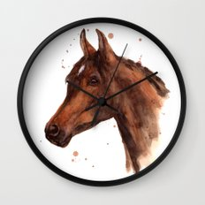 Watercolor HORSE painting, horses, hore art, stallion Wall Clock