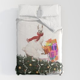 Llama Bringing Home Christmas Tree Comforters
