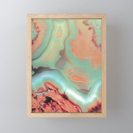 Living Coral and Teal Agate Framed Mini Art Print